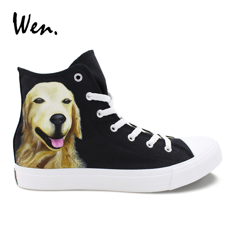 847241ea11a93 US $60.04 24% OFF|Wen Custom Hand Painted Shoes Golden Retriever Pet Dog  Personalized Canvas Sneakers High Help Unisex Plimsolls Laced Flats -in  Men's ...