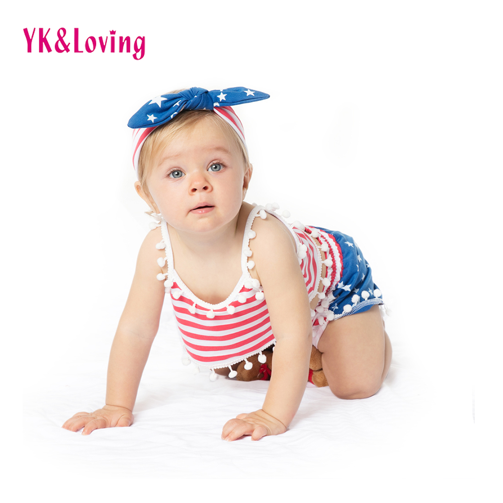 Free shipping american flag Newborn Girls Set Vest Sling Shorts Pants Headband Striped children's clothing Summer Style 1-4 Y
