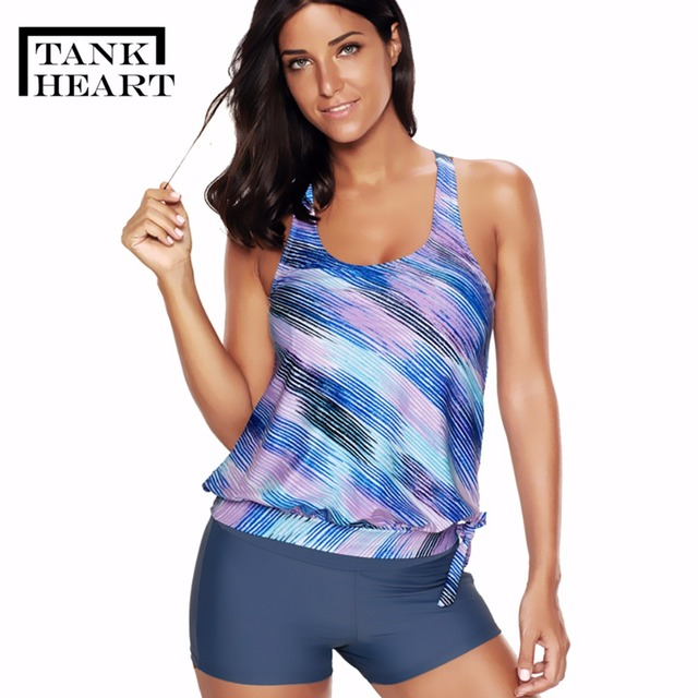 9b1db748c7580 Tank Heart Sexy Tankini Plus Size Swimwear Women Swimming suit for girls Two  Piece Swimsuit Bikini girl Badpak Swim Suit M-4XL