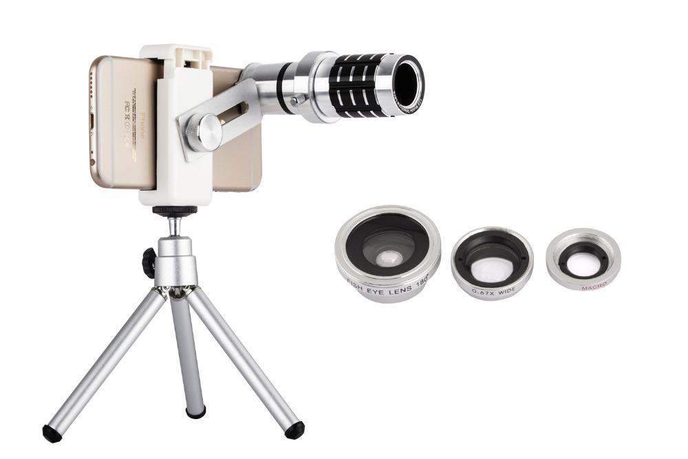 12X Telephoto Lens Lenses 4 In 1 Phone Fish Eye Lens Universal Wide Camera Lens ojo de pez For iPhone Lens olho de peixe Tripod 8