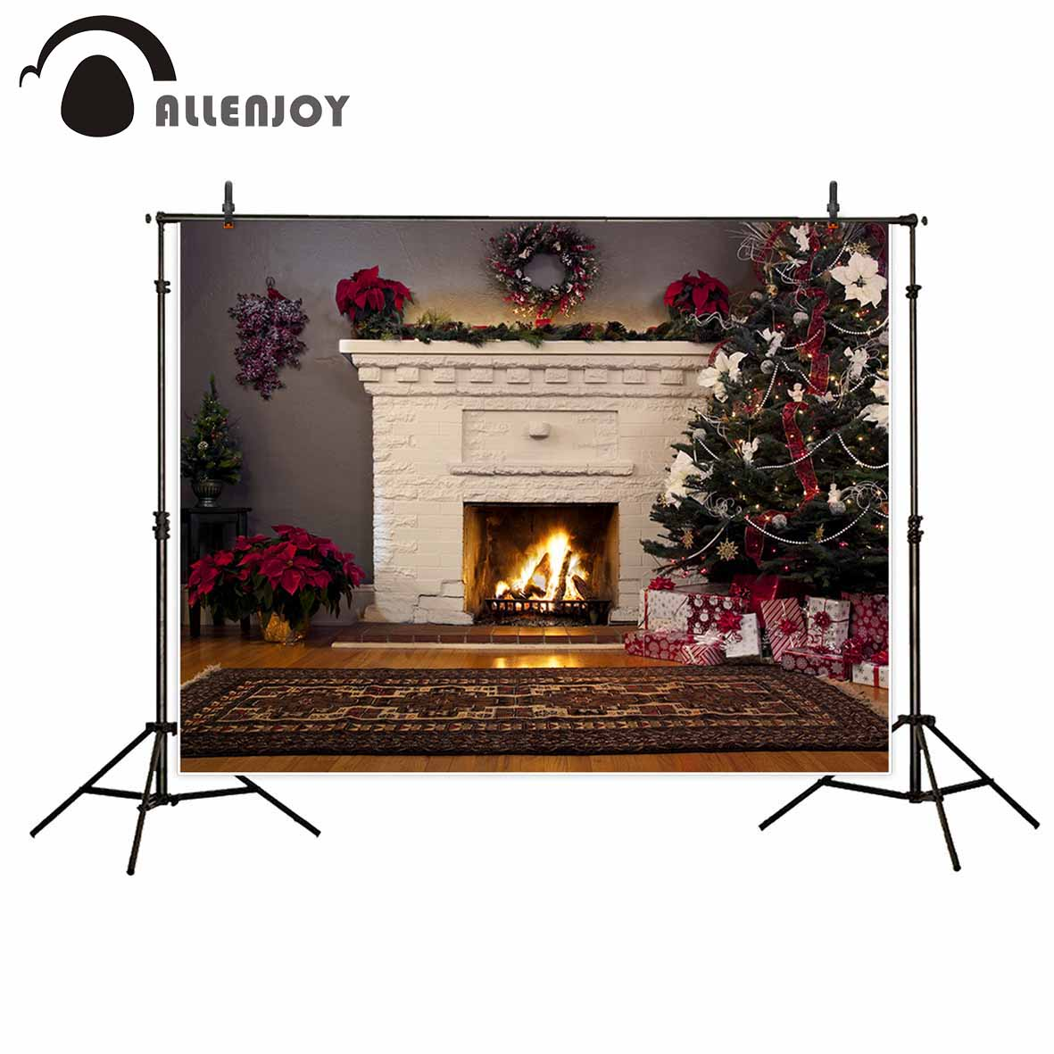 Allenjoy Christmas tree white fireplace wreath carpet gifts flower background for photo photo booth for the photo christmas tree backdrop photography allenjoy wooden carpet fireplace xmas tree background photographic studio vinyl camera