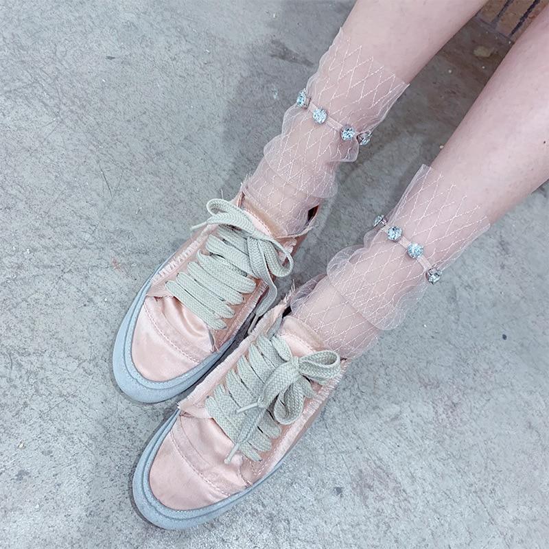 Spring Rhinestone Luxury Transparent Short Socks Net Hollow Out Lace Harajuku Women Socks Hipster Summer Ankle Sock Funny Socks