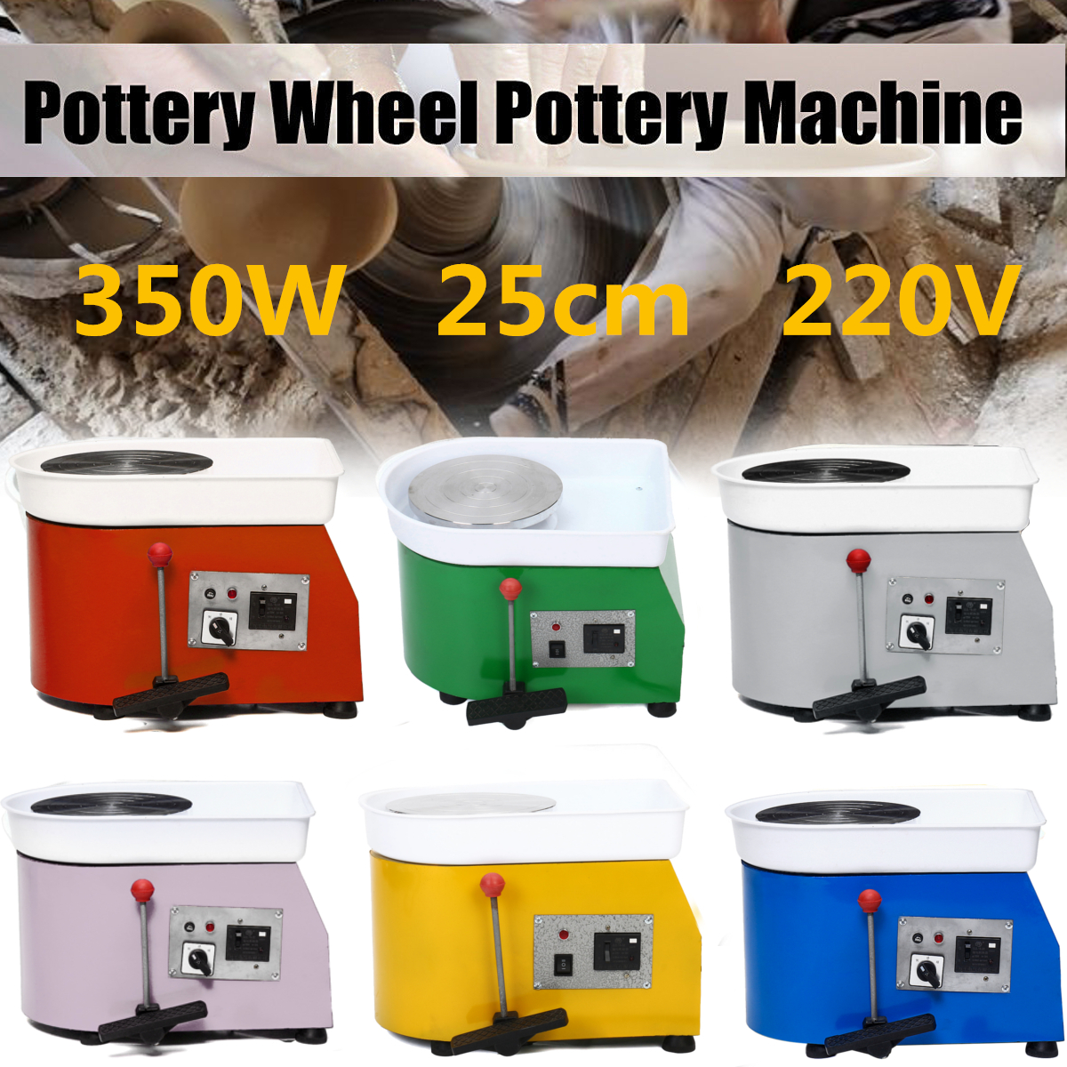 25cm 350W 220V Pottery Wheel Pottery DIY Clay Machine For Ceramic Work Ceramics Clay Children Learning Toy polish pottery spoon rest blue bells