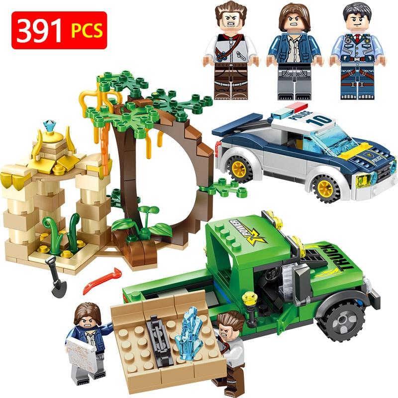 Classic Mini Action Figures Blocks Police Legoinglys City Car Policemen Patrol Guardian Monuments Bricks Fun Toys Children