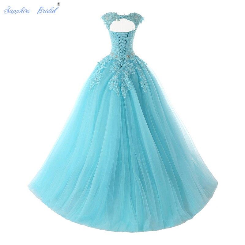 Saphir mariée longues robes De soirée Vestido De 15 Anos De Cap manches dentelle dos ouvert lilas menthe bleu perles Quinceanera robe - 6