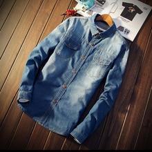 Fashion Jean Men Shirt Leisure Turn-down Men Blouses 2017 Summer Spring New Style Long Sleeves Simple Cool Men's Shirt Plus Size