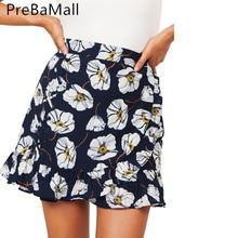купить Summer Casual Flower Printed Women Skirt Ruffle A Line High Waist Pleated Short Skirt Floral Print Beach Skirt C217 дешево