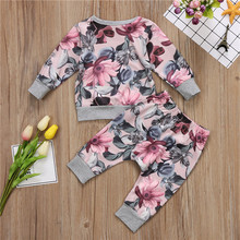 Newborn Toddler Baby Girls Boys Tops+Floral Pants Leggings Outfits Set