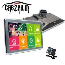 """7 """"автомобильный видеорегистратор Камера gps-навигации 16 ГБ Встроенная память Android 4.4 с двумя объективами Full HD 1080 P парковка видео Регистратор dashcam видеокамера WI-FI"""
