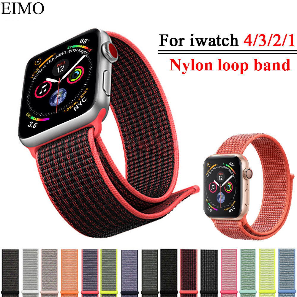 EIMO Sport Loop Strap Correa For Apple Watch band 42mm 44mm 40mm 38mm Iwatch series 4/3/2/1 Woven Nylon Bracelet Wrist Watchband mu sen woven nylon band strap for apple watch band 42mm 38 mm sport fabric nylon bracelet watchband for iwatch 3 2 1 black