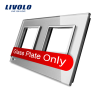 Livolo Luxury Grey Pearl Crystal Glass 150mm 80mm EU Standard Double Glass Panel For Wall Switch