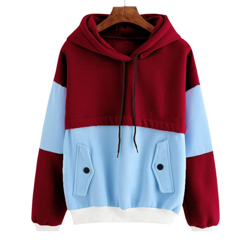 Creative Design Women Color Block Patchwork Pocket Hooded Sweatshirt Girls Ladies Long Sleeve Tops Camisola camisetas