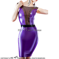 Metallic Purple Sexy Latex Dress With Zipper At Back Rubber Pencil Dress Gown Bodycon Playsuit LYQ 0109