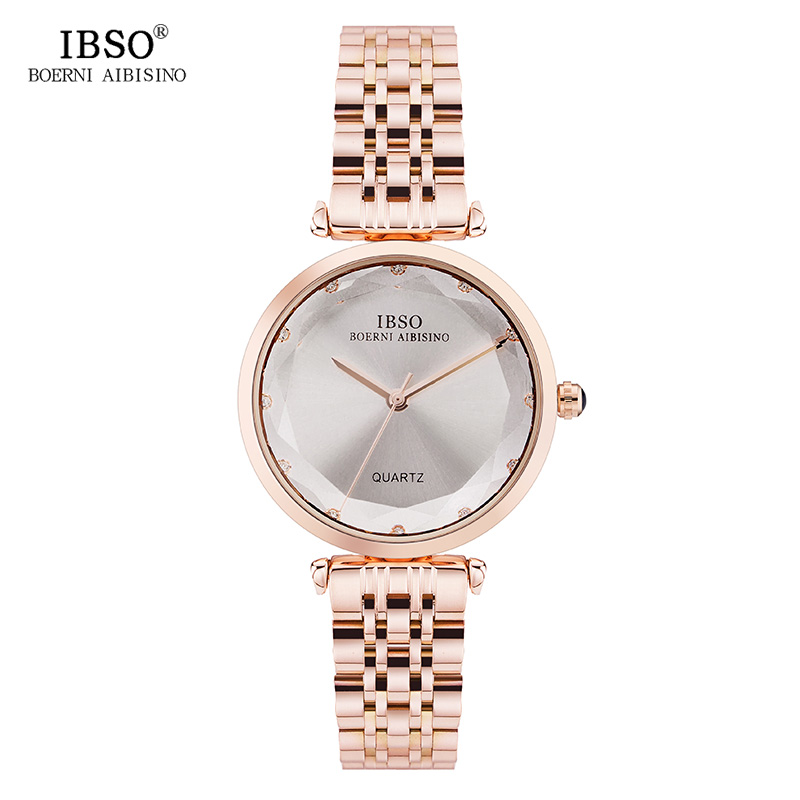 IBSO Women's Stainless Steel Watches 2019 Rhinestone Cut Style Glass Quartz Watch Hours Women Casual Ladies Watch Montre Femme