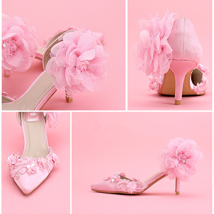 ФОТО Pink Lace Flower Crystal princess Shoes Thin Heels High-heeled Bridal Shoes package with Sandals Female Free Shipping Party