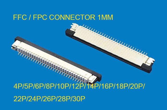 10 piezas FFC/FPC conector 1mm 4 Pin 5 5 5 6 6 7 8 10 12 14 16 18 20 22 24 26 28 30 P tipo cajón cinta conector plano contacto superior
