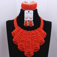 New Elegant African Jewelry Sets Wedding Crystal Beads Jewelery Orange Gift Set Nigerian Beads Necklace Jewelry Sets LXF14