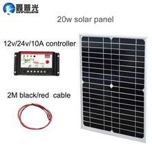 Xinpuguang Solar Panel 20W 18V Monocrystalline Solar Module Mono Cell 10A Controller 2M Cable for 12V