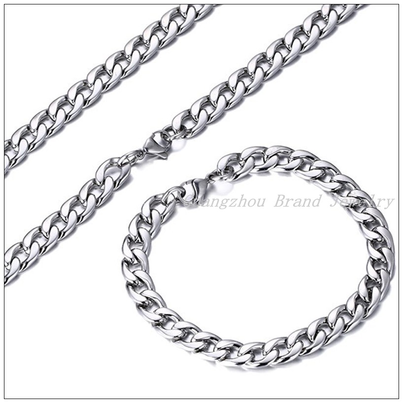 "New Fashion 316L Stainless Steel Silver Curb Chain Cool Womens Mens Figaro Chain 8.5"" Bracelet & Necklace 24"" Unisex Jewelry Set"