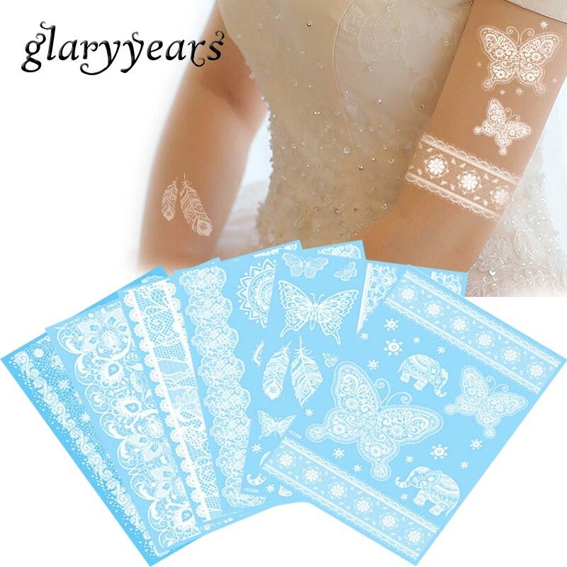 glaryyears 14 Designs 1 Sheet White WHLC Body Tattoo Temporary Waterproof Flower Lace Tattoo Sticker Wrist Ankle Art Decal Women ...
