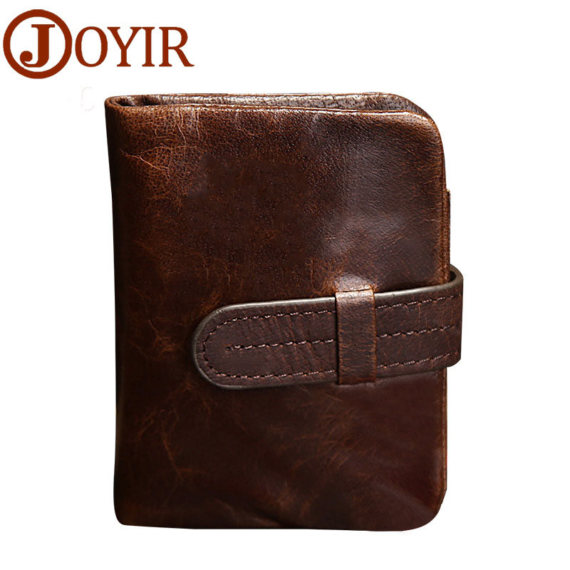 JOYIR Wallet Men Leather Genuine Solid Men Wallets Leather Coin Purse Vintage Card Holder Short Carteira Masculina Male Gift2041