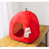 Round Red House Winter Dog Beds Pet Mats Products For Dogs Pet Round Maltese Small Dog