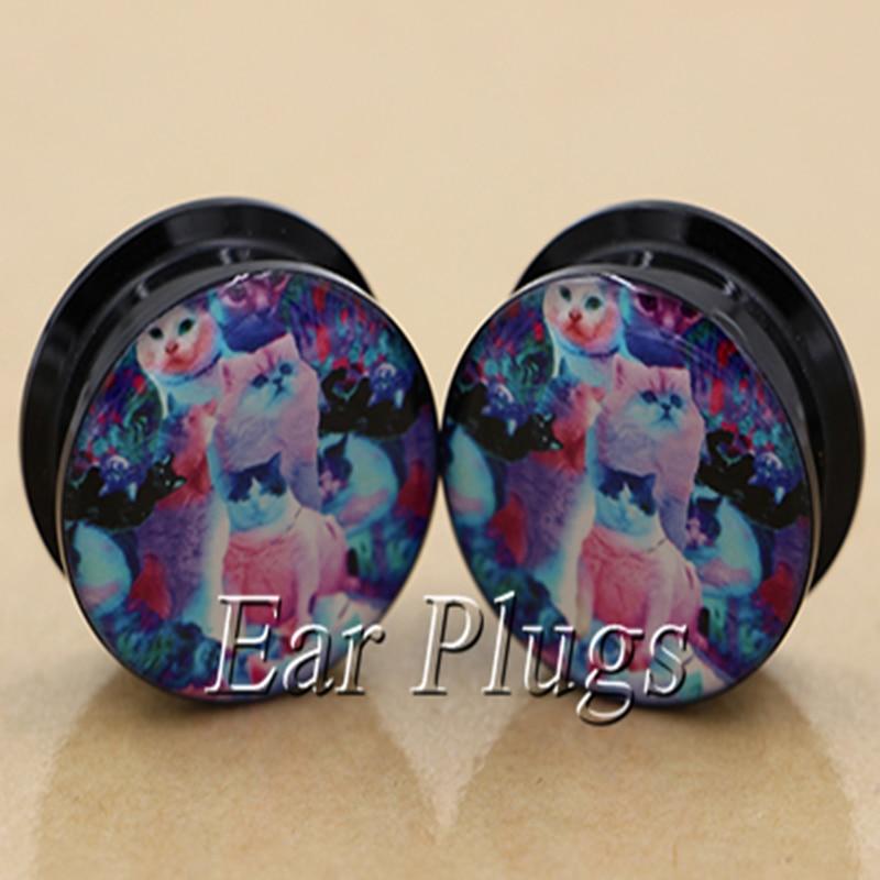 1 pair rainbow cats ear plug gauges tunnel acrylic screw flesh tunnel body piercing jewelry PAP0388