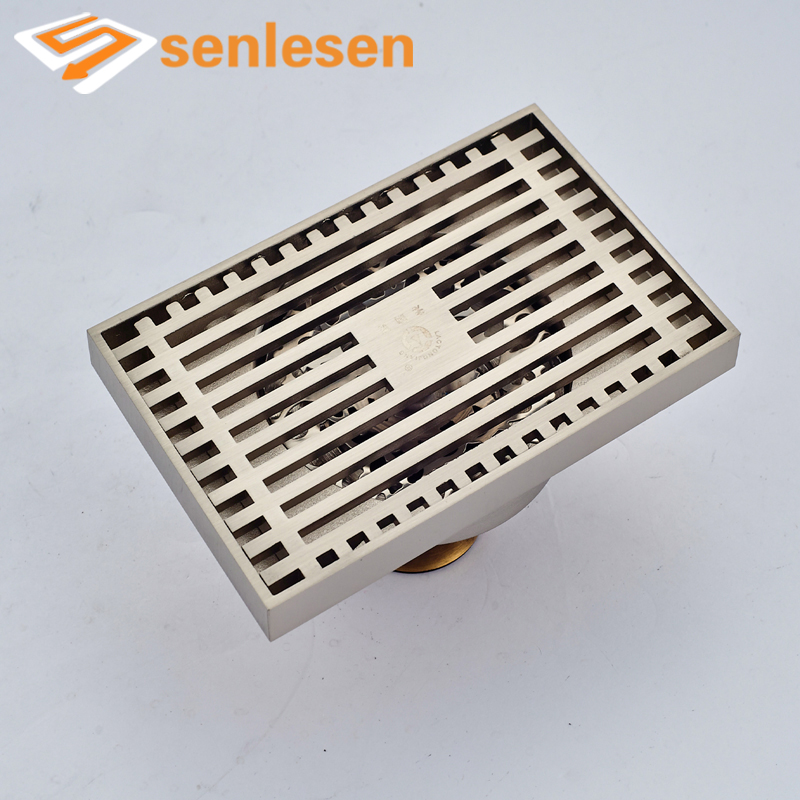 Wholesale And Retail Free Shipping Square Floor Drainer Grille Bathroom Shower Grate Waste Bathroom Floor Filler Nickel Brushed hot sale wholesale and retail promotion brushed nickel bathroom shower drain grate waste floor drain