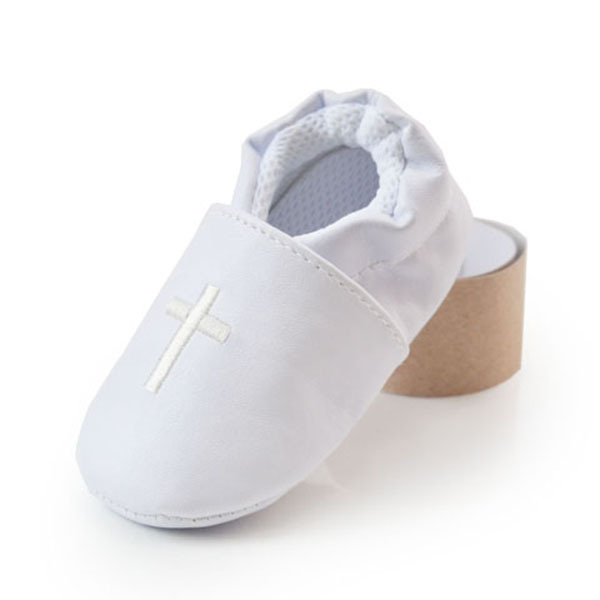 Baby Boy Girl Cross Baptism Christening Shoes Church Soft Sole Leather Shoes White