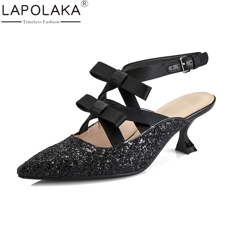 LAPOLAKA New Brand 2018 Pointed Toe Bling Woman Shoes Thin High Heel Women Shoes Sexy Party Cross Tied Summer Sandals lapolaka 2018 brand new horsehair woman elegant wedges high heel women shoes platform black summer sandals women