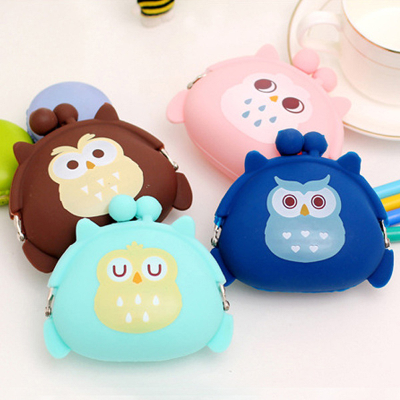 Owl Silicone Coin Purse Kids Gift Cartoon Trendy Baby Mini Coin Bag Lady Change Purse Women Smart Wallets Lady Purse 4 women mini coin wallets cute cartoon cat coin purse gift for kids girls small change purse 10pcs
