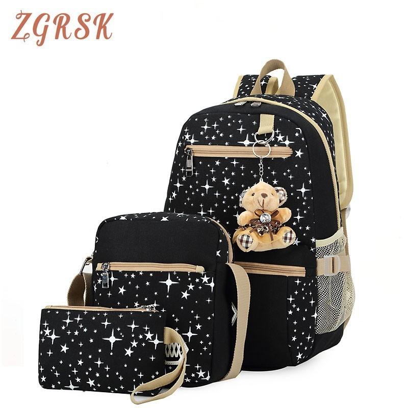 Women 3pcs set Canvas Backpack Bagpack Star Printing Cute Backpacks With Bear Bagpack For Teenagers Girls Back Pack Bagpack in Backpacks from Luggage Bags