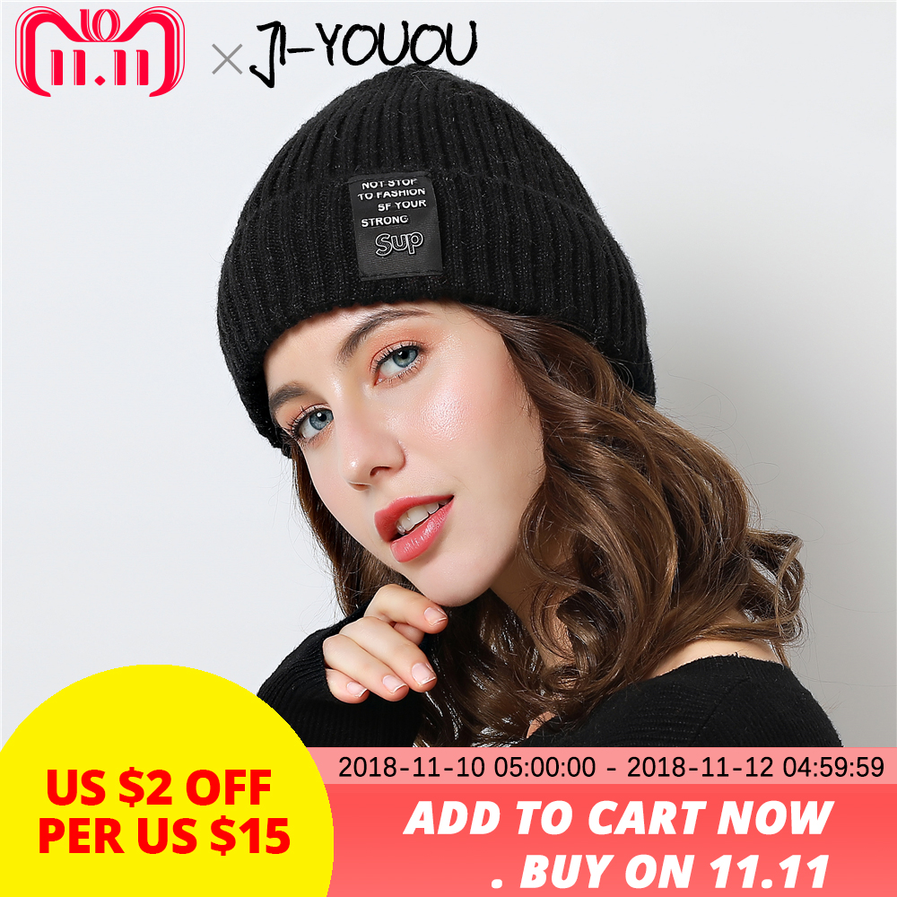 2018 New Warm knit hat gorros   skullies     beanies   winter   beanie   hat for the girl Wool cap Double layer design Thicker Women's cap