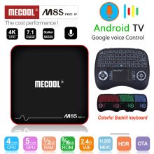 купить MECOOL M8S PRO W Voice Control Android 7.1 TV Box Amlogic S905W Quad Core 2GB 16GB Smart TV Box 2.4G WiFi 4K H.265 Set Top Box дешево