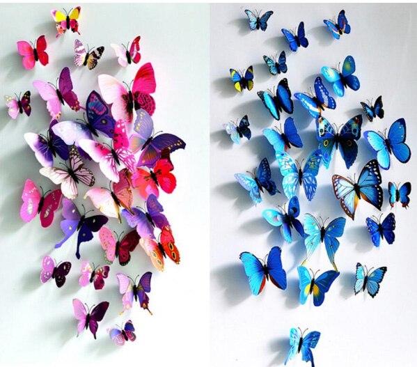 12Pcs/Set PVC 3D Multi Color Butterfly Shape Wall ...