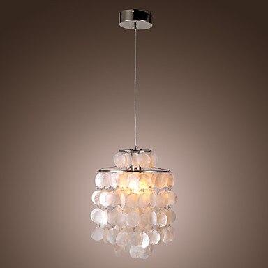 цена на Mini White Shell Luminaire Handing LED Modern Pendant Light Lamp (Chrome Finish) Free Shipping