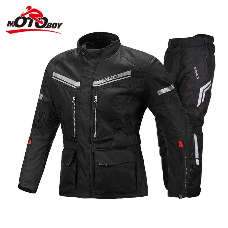 Motoboy Moto Costume motocross veste Ensembles Oxford Tissu Veste doublure chaude preuve de l'eau équipement de protection CE pad Veste J13