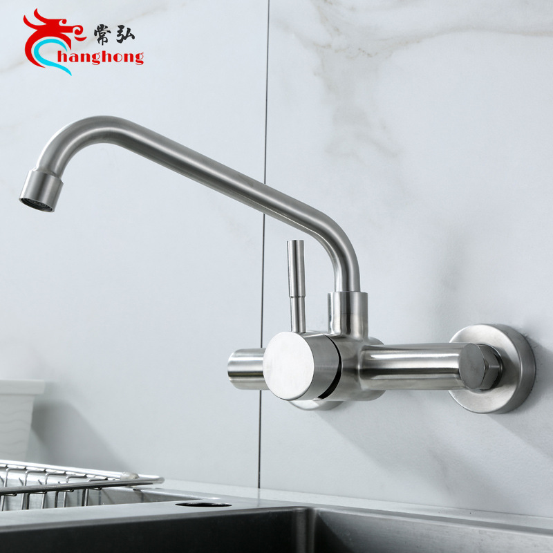 304 stainless steel square dish kitchen faucet