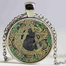 Wholesale Glass Dome Pendant Black Cat Wicca Pendant Necklace Pentagram Wiccan Jewelry Charm HZ1