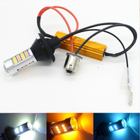 2 Dual Color 42SMD White Ice Blue Amber S25 1156 BAU15S PY21W LED Bulb Front Turning
