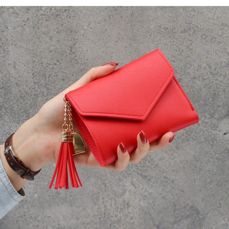 Новинка, маленький кошелек для денег, Женский Повседневный однотонный кошелек, Модный женский короткий Мини Универсальный корейский студенческий маленький кошелек