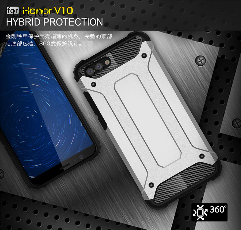 For Huawei Honor V10 Case Silicone Rubber Armor Hard Cover Case For Huawei Honor V10 Cover For Honor V10 Coque Phone Case LDCRE image