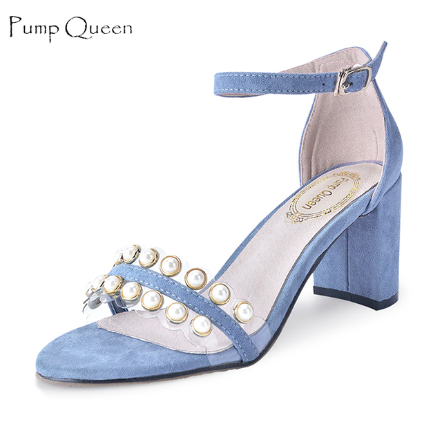 Women Sandals Blue High Heels 2018 Summer Shoes Woman Party Wedding Square  Block Heel Sandals Pearl Ladies Shoes Zapatos Mujer