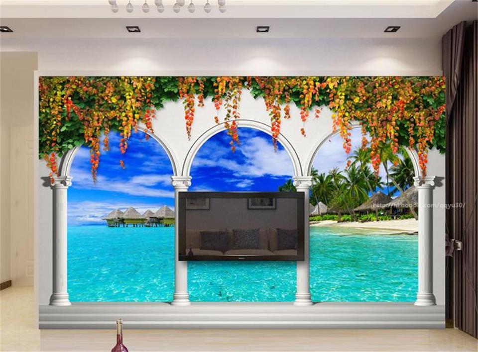 Custom 3 D Photo Wallpaper Wall Murals 3d Wallpaper Beach: 3d Custom Photo Mural 3d Wallpaper Roman Column Arches