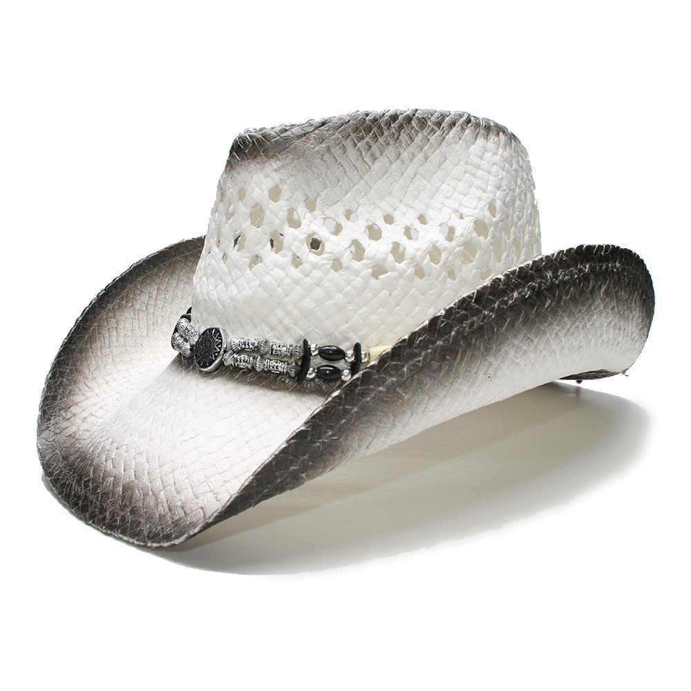 LUCKYLIANJI Retro Women s Men s Summer Straw Beach Wide Brim Cowboy Western  Cowgirl Hat Hollow Out Wood d2f686310794