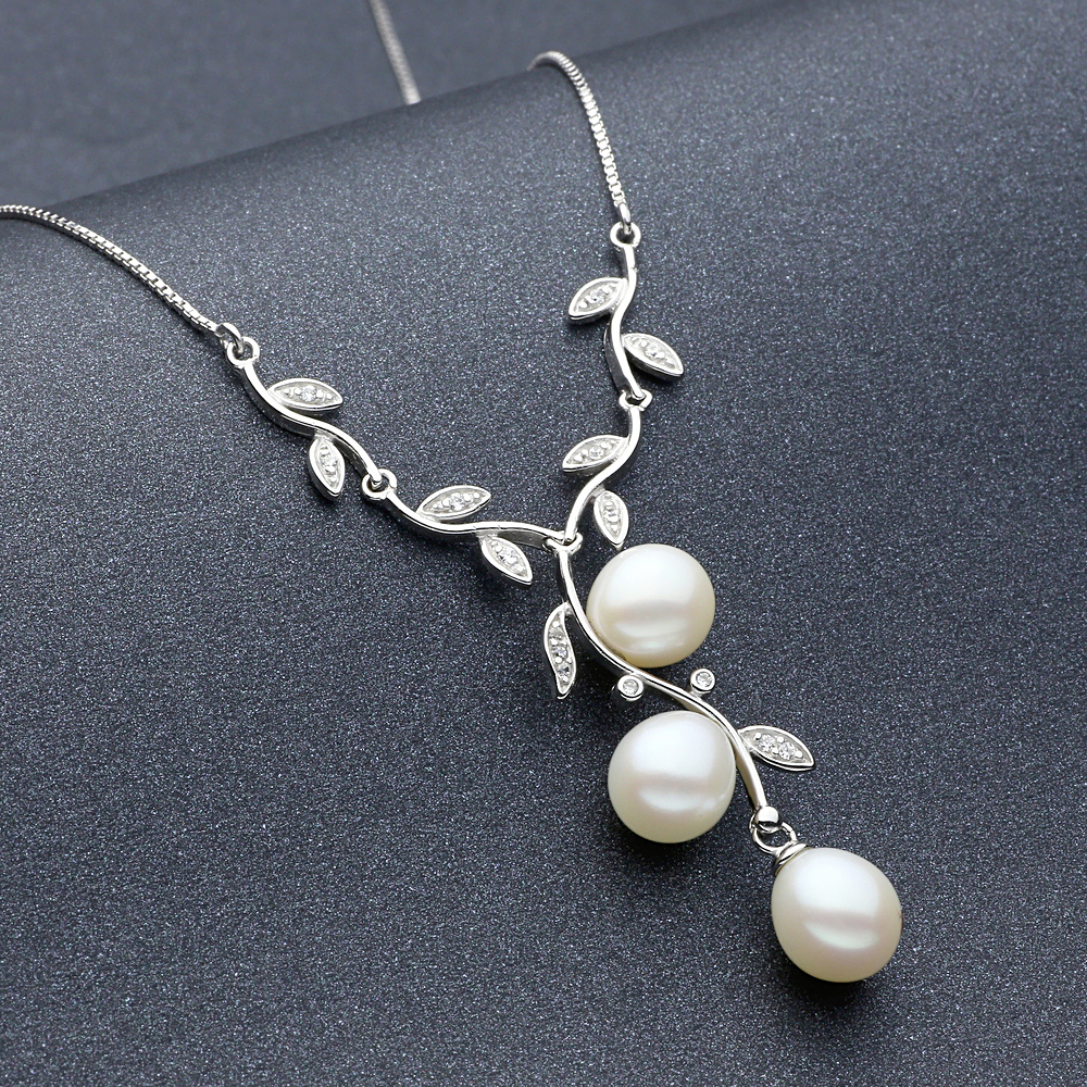Sinya natural freshwater pearl necklace 925 sterling for Decor jewelry