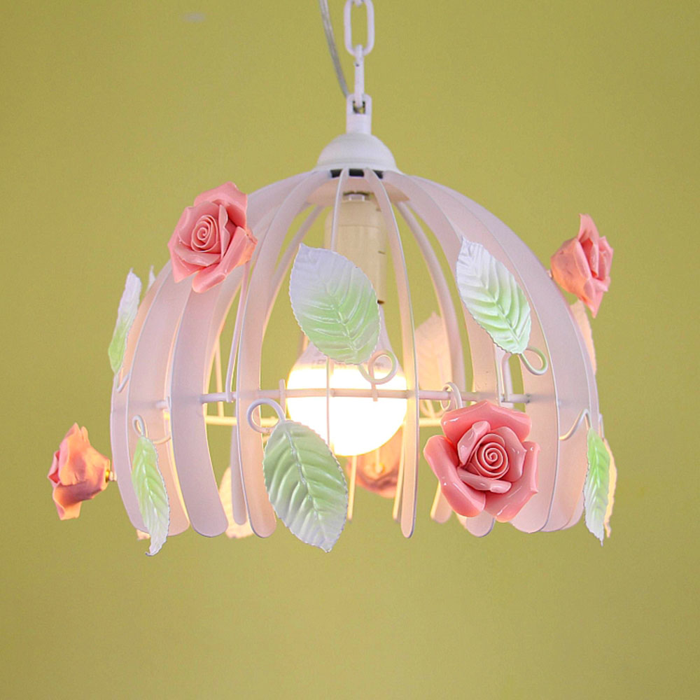 Fasion Lamp Led Pink Flowers Lights 110 220v Modern Simple Country Style Luster Lumination Nursery Garden