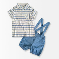 2 PCS Baby Boys Clothing Set Striped T Shirt Overall Pants Gentleman Baby Clothes Suit Summer