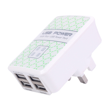 New US/EU/UK 4 Ports USB Wall Charger Quick Charge Travel Power Adapter for iPhone 6 Galaxy S6 High quality