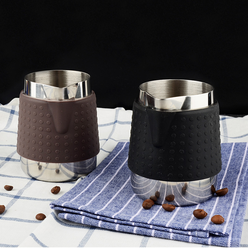 Creative Stainless Steel Coffee Pitcher For Espresso Mugs Frothing Jug Insulation Silicone Food grade Silicone 350ml 600ml